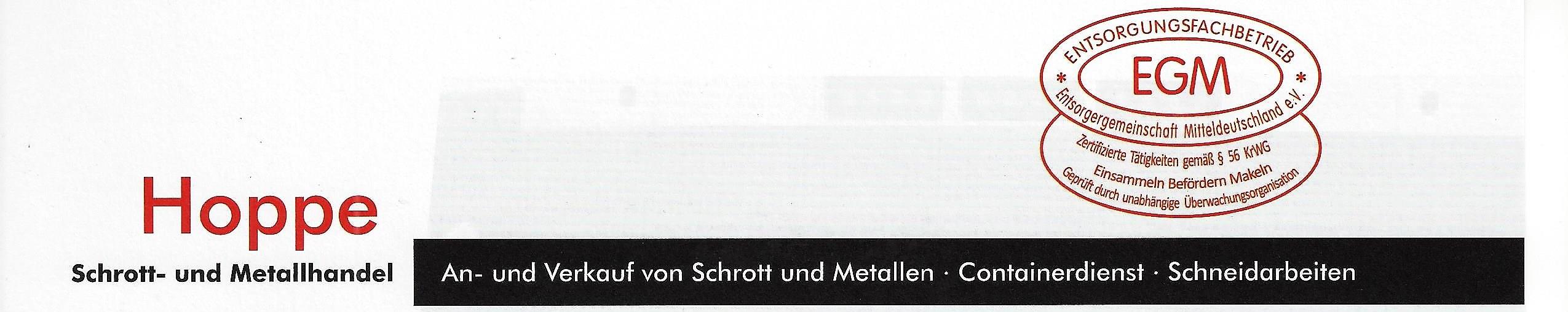 Hoppe Schrott und Metallhandel Containerdienst
